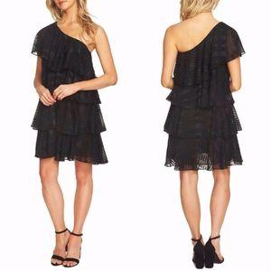 CeCe Cynthia Steffe BLACK One Shoulder TIER DRESS